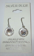 Clear Rhinestone Rivoli Earrings 12mm Dangle USA Made With Swarovski Crystal