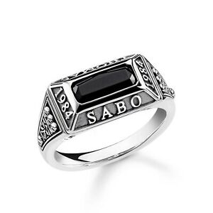 Genuine Thomas Sabo Sterling Silver Signature Onyx College Signet Ring TR2243