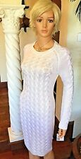 Calvin Klein New Women's MEDIUM M Ivory White Cable Knit Sweater Dress $134 NWT