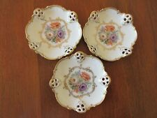 (3) ROSENTHAL BAVARIA CA 1900 MOLIERE PIERCED PORCELAIN NUT DISHES FLORAL & GOLD