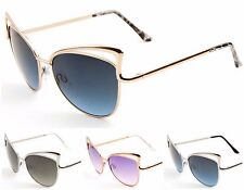 Wholesale 12 Pair Women High Brow Cat Eye Sunglasses with Oceanic Color Lens