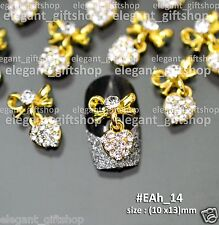10pcs Nail Art Decoration (10x13)mm Gold Bow Knot With Dangling Heart #EAh14