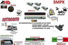 KIT VIDEOSORVEGLIANZA AHD DVR 8 CANALI + 4 TELECAMERE 3MP 48 LED AHD + HARD DISK