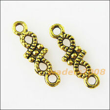 50 New Tiny Flower Connectors Antiqued Gold Tone Charms Pendants 5x16mm
