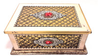 Ornate Cream and Gold Patterned Checkered Tin Trinket Box w/ Hinged Lid