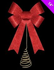 14 Inch Christmas Tree Top Decoration - RED Glitter Bow Tree Topper (DP133)