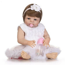 "Full Body Silicone Reborn Baby Girl Dolls 23"" Lifelike Hanmade Newborn Bebe Gift"
