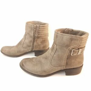 AK Anne Klein Sport Lanette Motorcycle Boot Gray Ankle Booties Womens Size 9