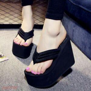 High Heel Womens Flip Flops Sandals Platform Wedges Slippers shoes Thong FASHION