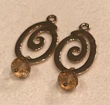 PANDORA 14K Yellow GOLD Cognac Citrine Swirl Compose Earring Charms #250421CIC