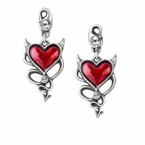 Alchemy Gothic Devil Heart Polished Pewter Studs