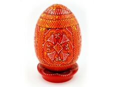 """Easter Red Wooden Hand Painted Pysanky Pysanka Egg on Wooden Egg Stand 3 1/2"""""""