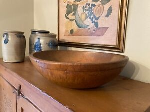 "Large Early Primitive 1920 Munising Wooden Dough Bowl 15.5"" D w/ Lip Tiger Maple"