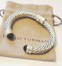 David Yurman Sterling Silver 10mm Crossover Bracelet Black Onyx & Diamonds
