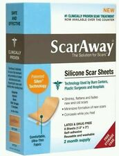 ScarAway Silicone Scar Sheets 2 mo. supply/8 sheets reusable washable Box issues