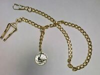 Pocket watch vest chain with Mercury Head Silver Dime fob