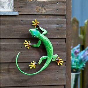 Gecko Garden Ornament Outdoor Lizard Emerald Animal Sculpture Fence Wall Art