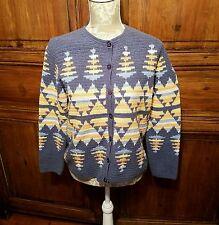Pendleton Women's Cotton Sweater M Western Southwestern Cardigan Aztec  Blue