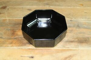Vintage Arcoroc Small Octagonal Bowl Black Glass Made in France