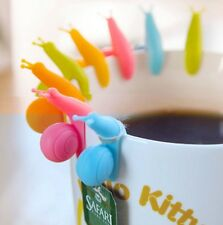 10 pcs Cute Snail Shape Silicone Tea Bag Holder Mug Kitchen Gift Candy Colours