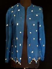 Vintage 1980'S Blue Sheer Chiffon Large Silver Sequin Jacket Size Small