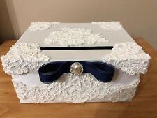 "Handmade Elegant Custom Wedding ""Advice to Bride & Groom"" Box - Navy Blue/White"