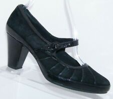 dc36c8d0deb5 Clarks Artisan black leather suede pleated buckle mary jane block heels 6.5M