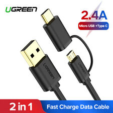 Ugreen 2 in 1 Micro USB Type C Charging Cable For MacBook Samsung S9 Google LG