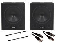 "QTX QT15SA 15"" 1200W Active Powered Subwoofer Bass Bin Speaker DJ Disco Package"