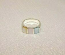 Natural Multicolour Mother Of Pearl Sterling Silver Ring (6 1/2)