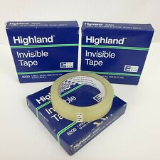 3 Rolles Of Highland Invisible Permanent Mending Tape 34 X 2592 3 Core Clear