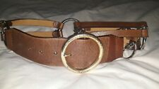 MICHAEL KORS Women's XL Belt Brown Leather Silvertone Chains and Hoops