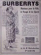 PUBLICITÉ BURBERRY MANTEAUX POUR LA VILLE LE VOYAGE ET LES SPORTS 1920