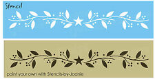 STENCIL Primitive Vine Twig Berry Country Home Decor Berries Star Border Signs