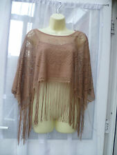 BRONZE LACEY FRINGED CAPELET / PONCHO SZ 12/14 EVENING / FESTIVAL / ARM COVER UP
