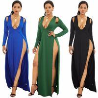 UK Women Boho Floral Long Maxi Dress Evening Party Beach Dresses Summer Sundress