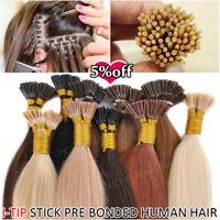 1G Stick Fusion Bonding Keratin I Tip 100% Remy Human Hair Extensions Micro Ring