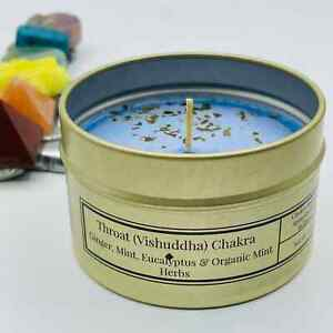 Throat Chakra Candle | Eucalyptus Scented Soy Candles | 6 oz Aromatherapy