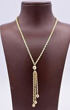Diamond Cut Drop Ball Necklace Real 10K Yellow Gold Twisted Hollow Rope Chain