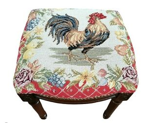 Vintage Needlepoint Stool / Bench - Rooster French County Motif