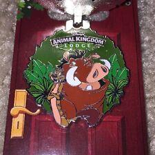 Disney Happy Holidays 2016 Wreath Pin Animal Kingdon Lodge Pumba & Timon Xmas