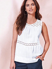 Kaleidoscope Size 10 White Broderie Neck Trim Detail Summer Cami Top Holiday £42