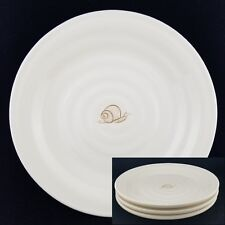 "(3) Pottery Barn SNAIL GARDEN Salad Plates, Ribbed Off White 8.5"" Round"