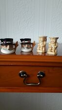 Two pairs of miniture toby jugs. Staffordshire & New Devon Pottery