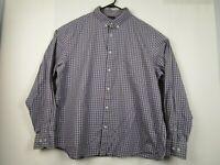 Mens Untuckit 3XL Purple Check 100% Cotton Long Sleeve Button Front Casual Shirt