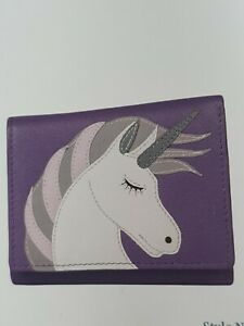 Quality soft leather small purse,  Unicorn RFID protection