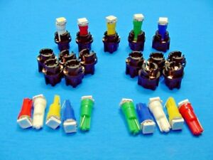 """15 Assorted Lights Bulbs LEDs 3/8"""" Sockets Instrument Panel Cluster Dash Chevy"""