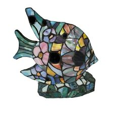 Tiffany Style Stained Glass Angelfish Fish Accent Lamp Light Floral Nautical