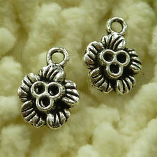 free ship 110 pieces tibetan silver flower charms 15x11mm #2858