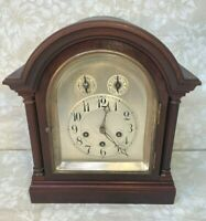 Ant Junghans Bracket Clock Westminster Chimes Elegant & Large Wood Case Runs